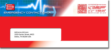 Emergency Contact Data members receive a membership kit delivered in a bright red envelope.