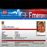 Emergency Contact Data Profile features member information for Personal Profile, Personal Contact Data, Emergency Contact Data, Physicians, Medical Conditions, Medicines & Supplements, Surgeries & Procedures, Recent Treatments, Allergies, Vaccinations and Health Insurance, plus Appointments, Medical Alerts, Mental Illness and Pet Dog and Cats.
